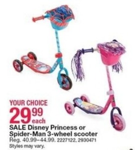 Disney Princess Or Spider Man 3 Wheel Scooter 29 99 At Kmart On