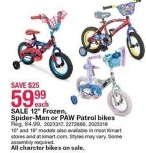 """12"""" Frozen, Spider-Man, or PAW Patrol Bikes"""