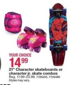 "21"" Character Skateboards or Character Jr. Skate Combos"