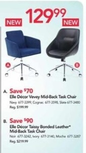 Elle Decor Taissy Bonded Leather Mid-Back Task Chair