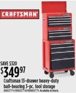 Craftsman 13-Drawer Heavy-Duty Ball-Bearing 3-Piece Tool Storage