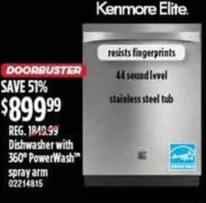Kenmore Elite Dishwasher With 360 PowerWash