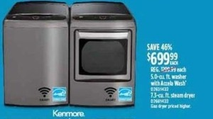Kenmore 5.0-cu. ft. Washer or 7.3-cu. ft. Dryer