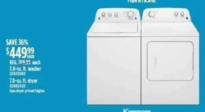 Kenmore 3.8 cu. ft. Washer or 7.0 cu. ft. Dryer