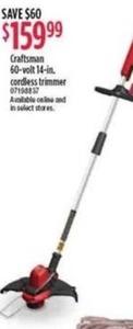 Craftsman 60-Volt 14-Inch Cordless Trimmer