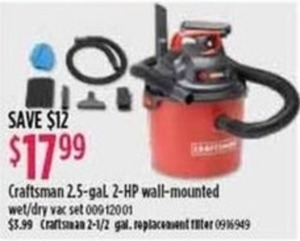 Craftsman 2.5 Gallon 2HP Wall Mounted Wet/Dry Vac