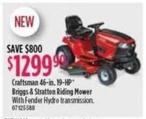 Craftsman 46-Inch 19-HP Briggs & Stratton Riding Mower