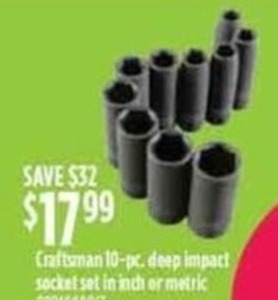 Craftsman 10-Piece Deep Impact Socket Set