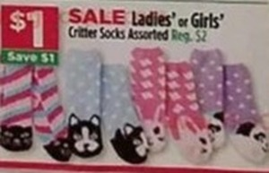 Ladies Or Girls' Critter Socks