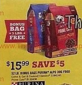 52Lb Bonus Bags Purina Alpo Dog Food