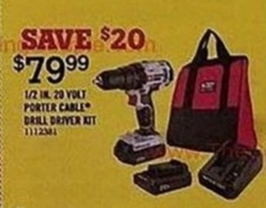 1/2 In. 20 Volt Porter Cable Drill Driver Set