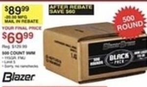 Blazer 500 Count 9MM After Rebate