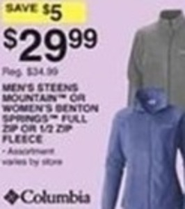 Columbia Men's Steens Mountain or Women's Benton Springs Full Zip or 1/2 Zip Fleece