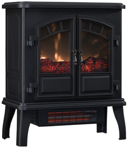 Duraflame 22.4-in W 5200-BTU Black Metal Flat Wall Infrared Quartz Electric Stove Thermostat