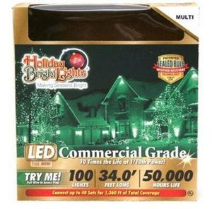 Christmas LED Light Set, T5, Commercial-Grade, Multi, 100-Ct.