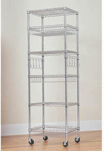 "Berkley Jensen 24"" 6-Shelf Steel Rack - Chrome Berkley and Jensen 24"" 6- Shelf Steel Rack"