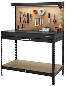 Hyper Tough 46-Inch Easy Assembly Workbench with LED Light and Drawer Liners