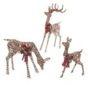 Holiday Time Light-Up PVC Rattan Deer Family